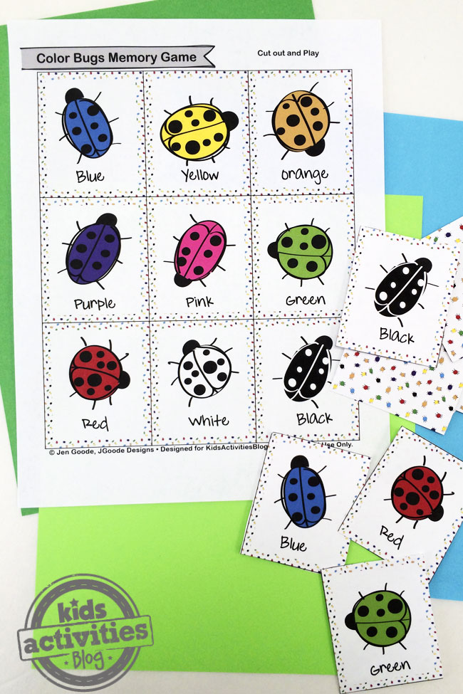 Color Bugs Memory Game Printable by Jen Goode