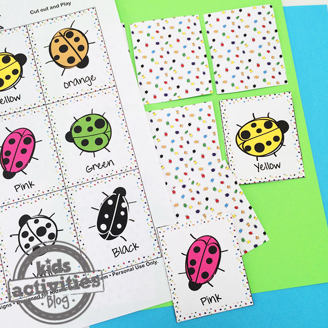 Color Bugs Printable Memory Game designed by Jen Goode