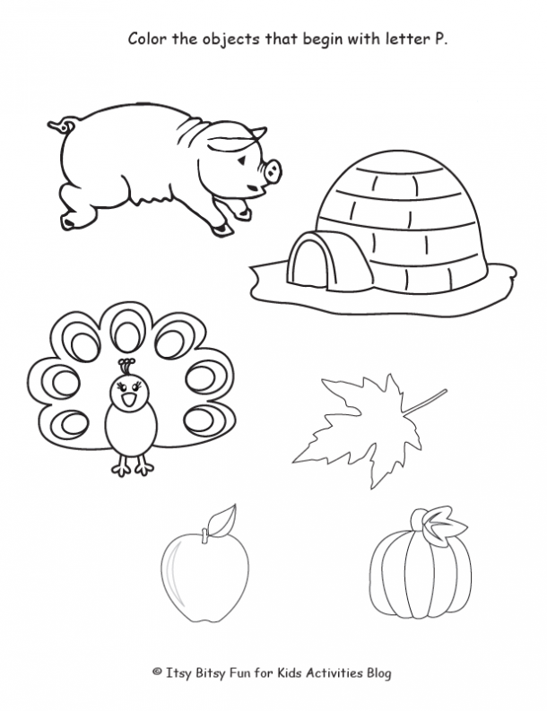 color the objects that begin with letter P