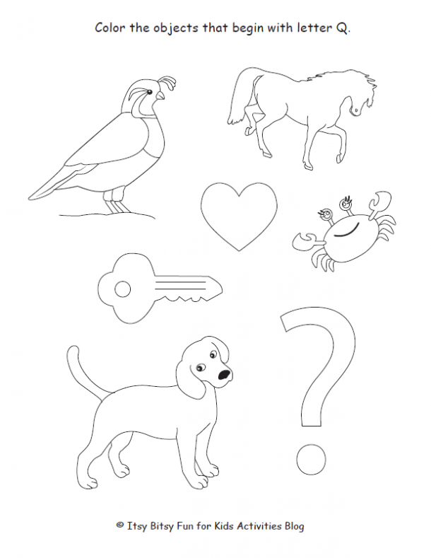 color the objects that begin with letter Q