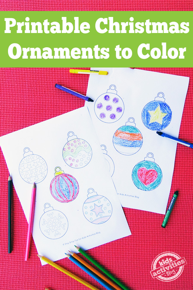 Free Printable Christmas Ornaments for kids to color - two ornament coloring pages with colored pencils and crayons