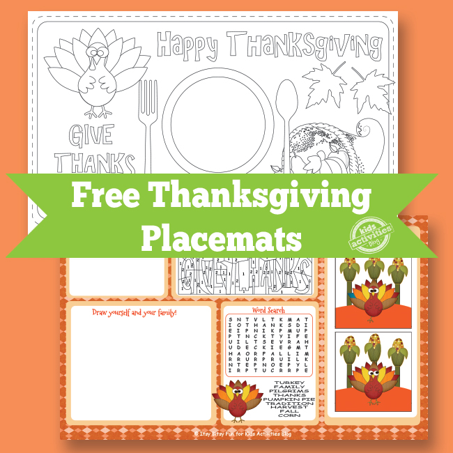 Free Printable Thanksgiving Placemats