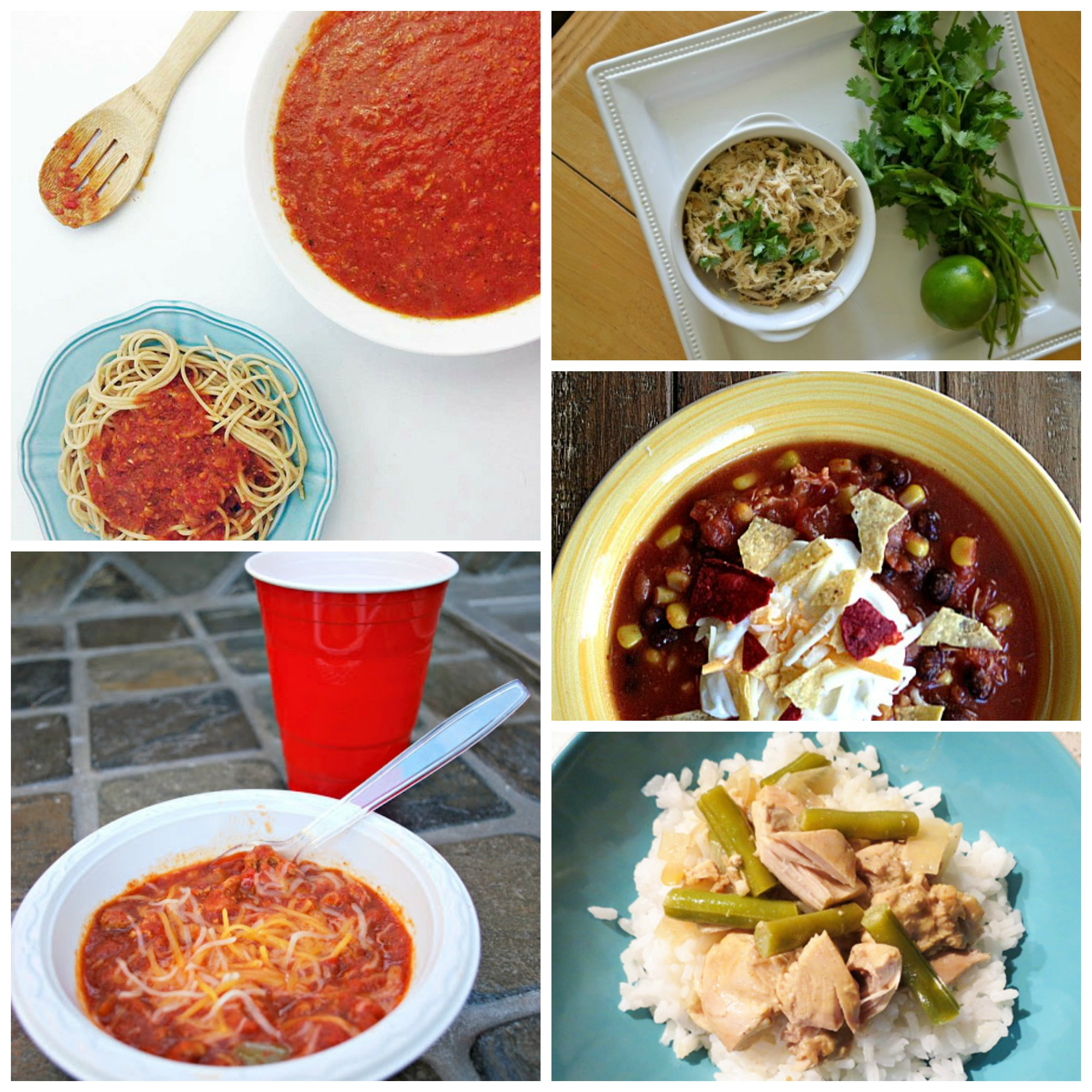 Healthy crockpot meals that are filling like this crock pot spaghetti, taco soup, and veggies and rice.