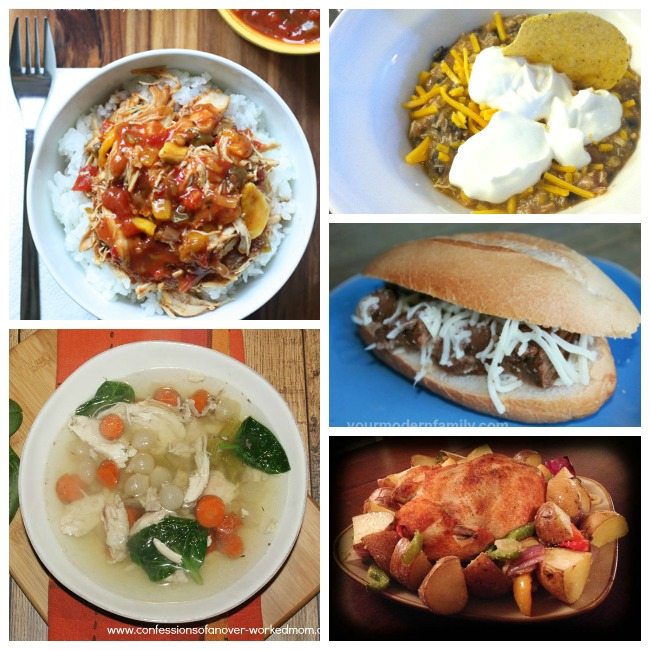 These healthy easy crockpot meals are so tasty. There is a crockpot recipe for chicken noodle soup, bbq sandwich, chili, roasted chicken and potatoes, and chicken and rice.