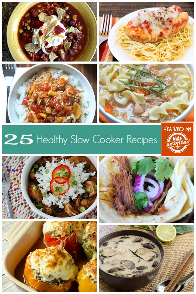 25 Healthy crock pot recipes that include chili, chicken and rice, stuffed peppers, carnitas, and mushroom stew.