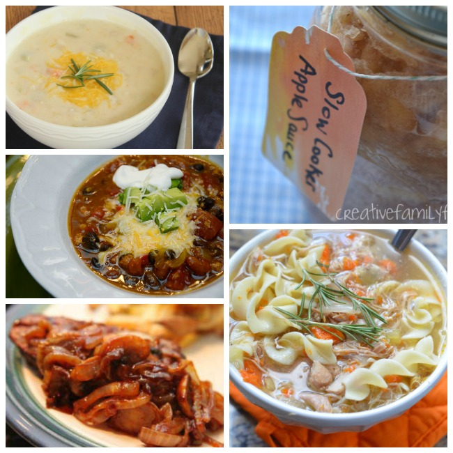 Healthy crock pot meals that include soup, stewed apples, potato soup, pot roast, and chili.