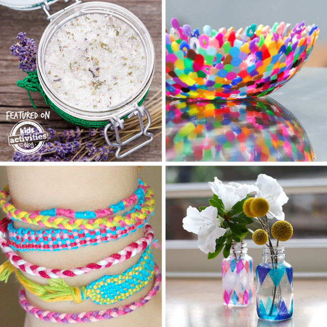 Homemade gifts for kids to make can be so easy from sugar scrubs, rainbow bead bowls, woven colorful bracelets in pink, blue, and yellow. And DIY white flowers and yellow flowers in blue and pink decorated mason jars.