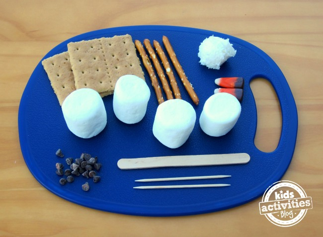 Snowman kit marshmallows, graham crackers, frosting, popsicle sticks, chocolate chips, and candy corn, and tooth picks on a blue plate.
