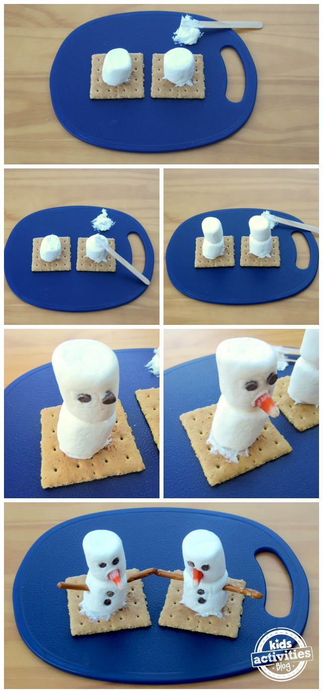 Build your own snowman marshmallow by using frosting to stick the marshmallows to the graham crackers then more frosting, then another marshmallow on top of the first marshmallow, then add the chocolate chip eyes and jam the candy corn in the marshmallows face for a nose and then jam the pretzels in to give the marshmallow snowman arms.