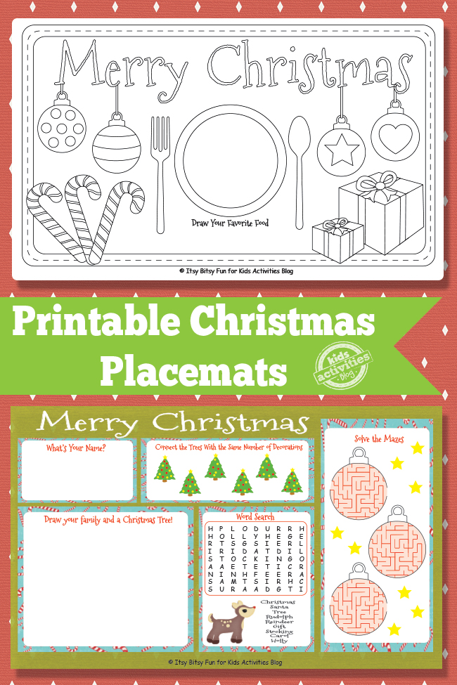 Christmas Placemats - print and color activity mats for the holidays