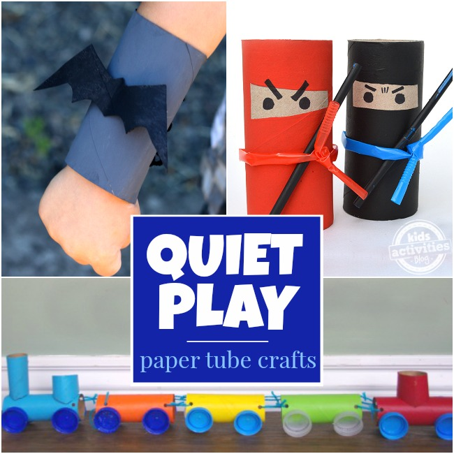 Preschool Activities That Are Quick To Set Up with toilet paper ninjas, batman bracers, and toilet paper roll rainbow train.