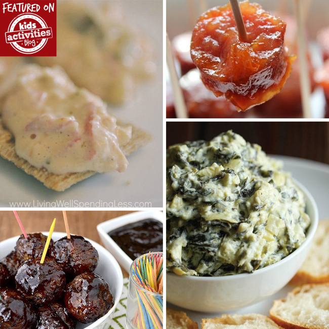 crock pot holiday appetizer recipes that include hot crab dip, sweet and sour chicken, bbq meatballs, and creamy spinach dip.