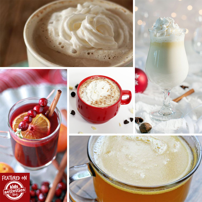 Crock pot drinks for Christmas that include hot chocolate, white hot chocolate, apple cider, and a cranberry orange drink.