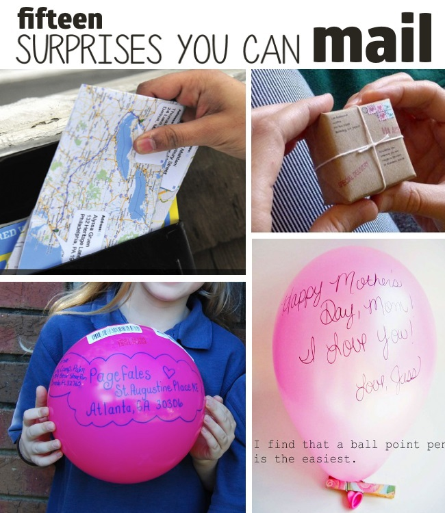 15+ Things (surprises) You Never Thought You Could Mail - map envelope in mailbox, tiny package, send a ball, balloon message