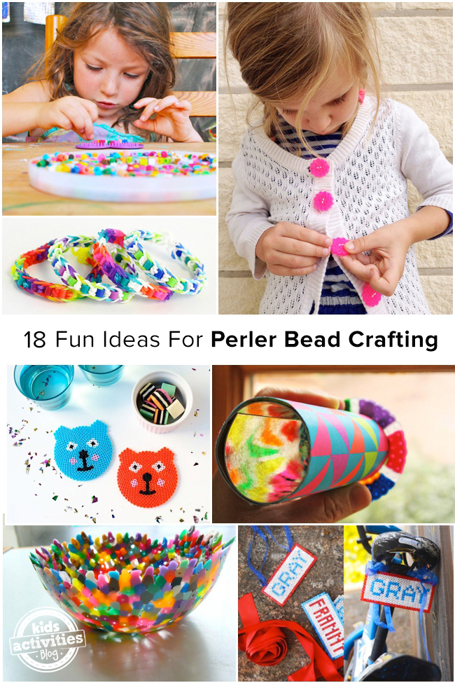 18 fun ideas for Perler bead crafting - best perler bead projects - 7 pictured here from bracelets to buttons to a kaleidoscope