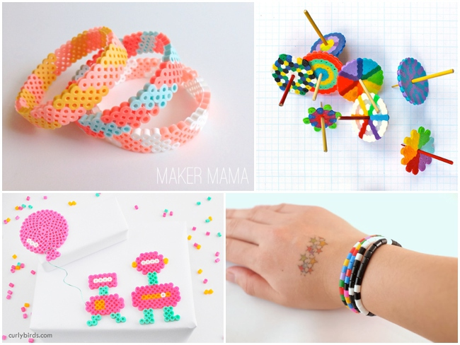 best perler bead crafts - 4 pictured including two bracelets, spinners and art