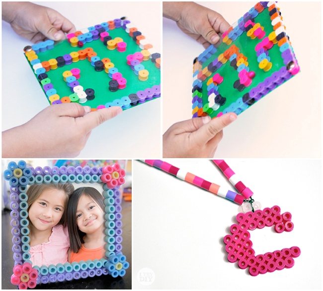 perler bead crafts you don't want to miss - 4 pictured including a maze, frame and necklace charm