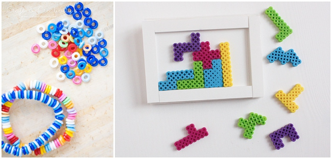 2 more perler bead crafts - bracelet and diy framed game