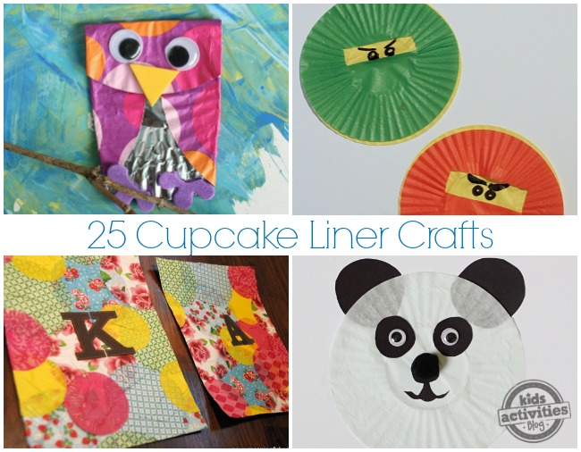 25 Cupcake Liner Crafts- rainbow owl with googly eyes, green and red ninja faces, cupcake liner collage, cupcake liner pander craft