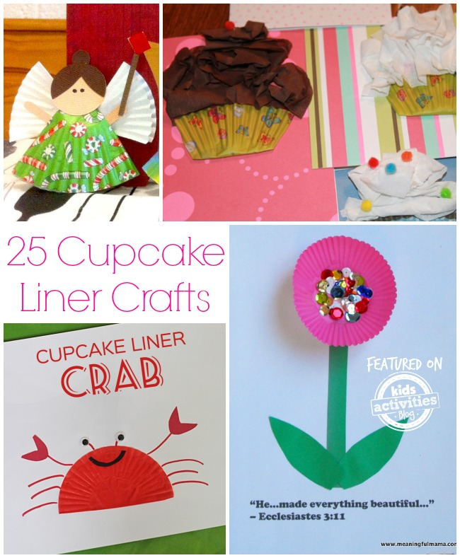 25 Cupcake Liner Crafts- an angel, cupcakes, crabs, and a flower