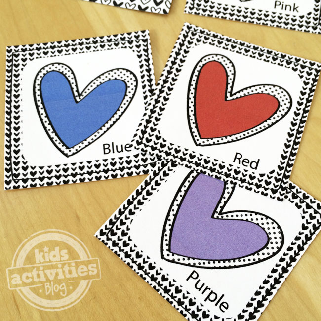 Colored hearts playing cards