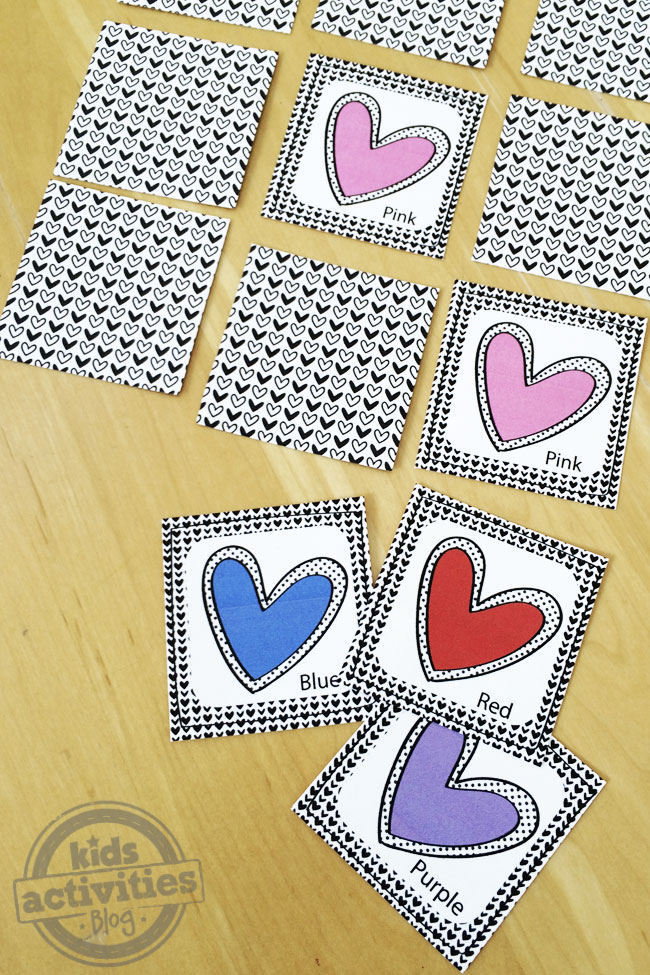 Play the memory game with printable colored hearts playing cards