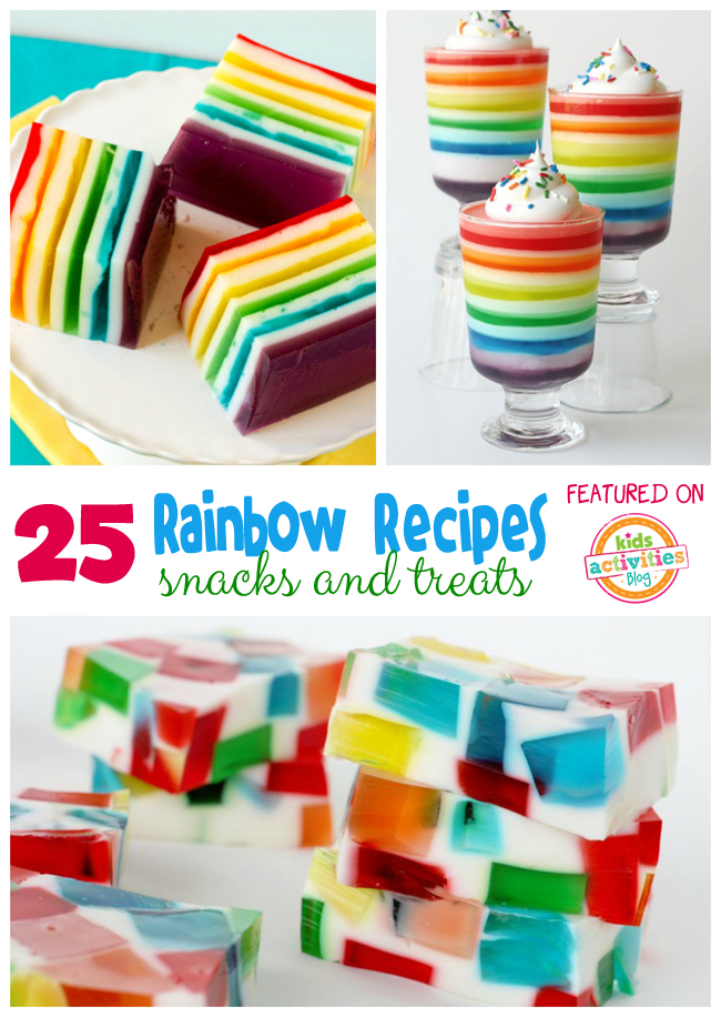 25 Rainbow Foods for Kids - shows rainbow jello in several ways to make it
