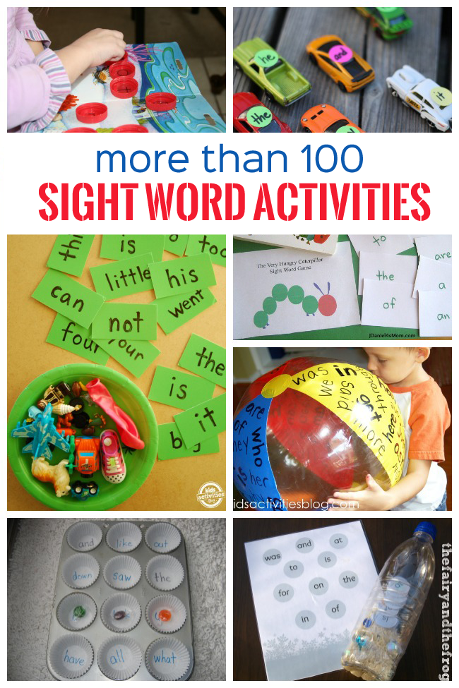 More than 100 sight words activities collage with a kid playing with bottle caps, sight words on toy cars, sight words card with a bowl of small toys, a blown up ball with sight words on it, a cupcake pan with sight words in it, and sight words inside a plastic bottle.