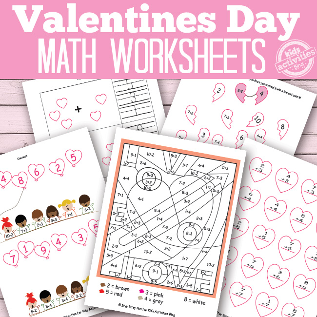 Valentines Day Math Worksheets Free Kids Printable