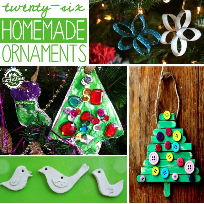 christmas ornaments that kids can make from baked clay, paper towel rolls, and popsicle sticks.