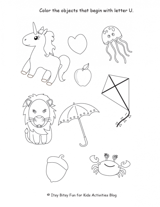 color the objects that start with the letter U