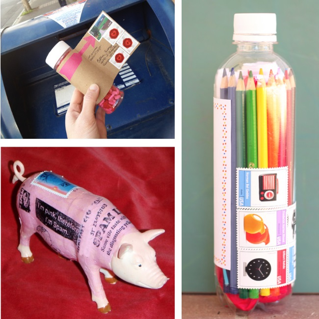 Unusual things you can mail - pill bottle, water bottle and pig with postage