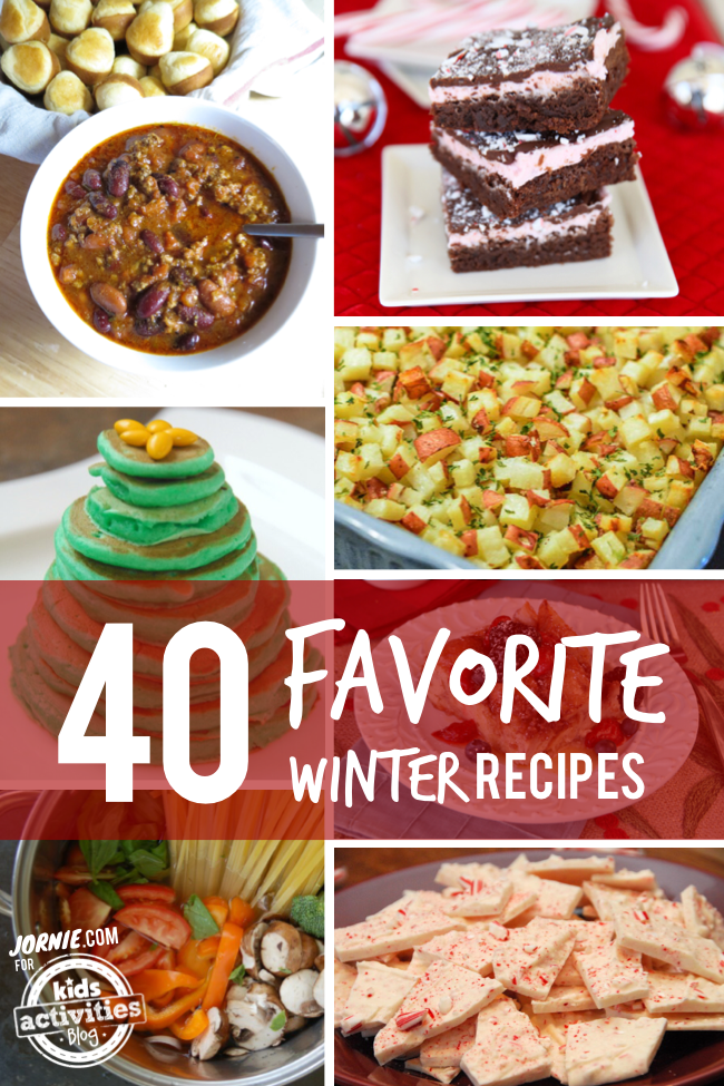 40 Favorite Winter Recipes - great comfort food for cold days - chili, dessert, pancakes, potatoes, pasta and bark pictured