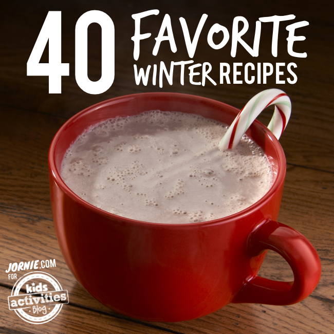 40 Favorite Winter Recipes - cup of hot chocolate with candy cane inside