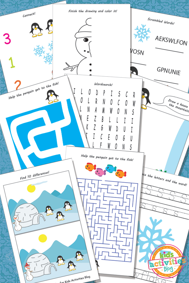 Printable Winter Activity Sheets for Kids