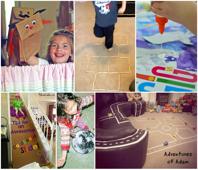 best winter indoor activities for kids - puppet show, hop scotch, craft, stair slide and tape roads