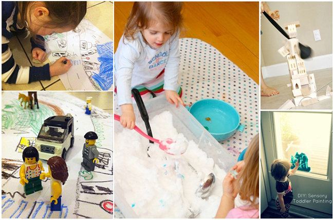 indoor activities for winter - kids doing art, creating lego worlds, playing indoors with snow
