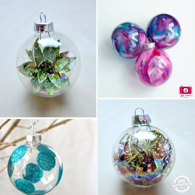 clear plastic Christmas ornaments with succulents, glitter stickers, melted wax, and strings.