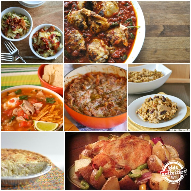 Dinners for busy moms are quick and easy with roasted chicken, chicken with veggies, and casseroles.
