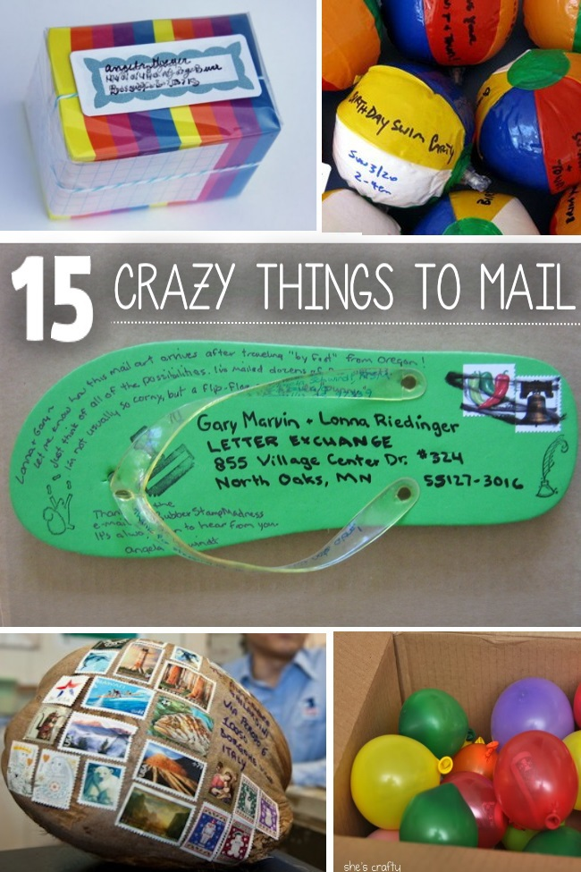 15 Crazy Things to Mail - post it notes, stress balls, flip flop, coconut and a box of balloons are pictured