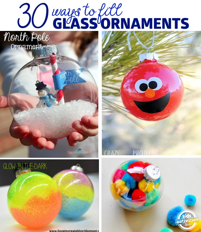 Fillable ornaments with snow and a snowman, red paint elmo ornament with a mouth, orange nose, and eyes. Neon swirl ornaments, and a clear glass ornament filled with colorful pom poms.