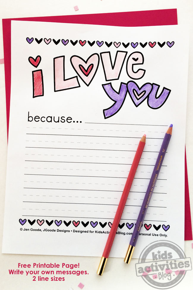 Why I Love Your Printable Writing Page - pdf shown with colored pencils