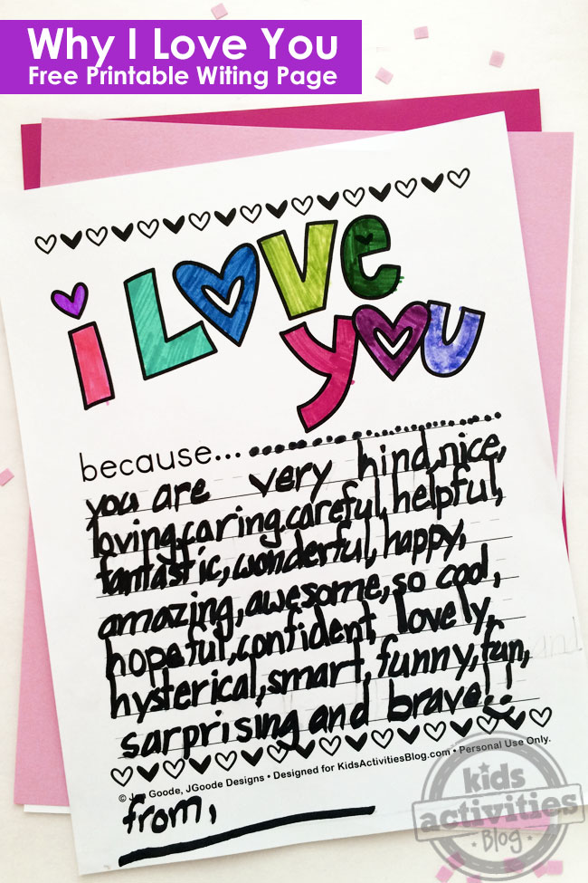I Love You Because Printable set