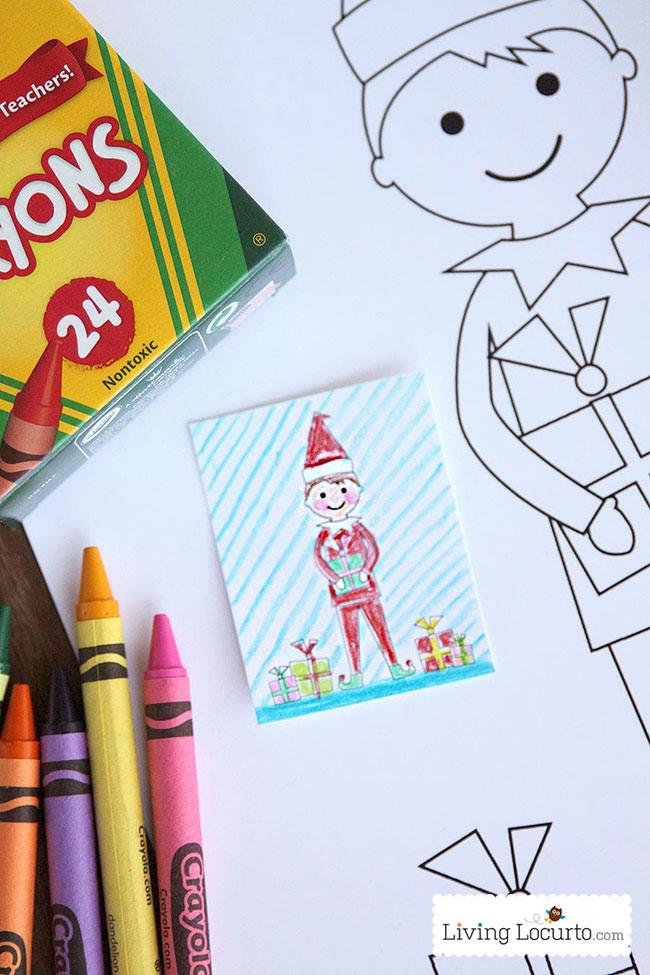 elf on the shelf coloring sheet one big one for your kids and one small one for elf with crayola crayons