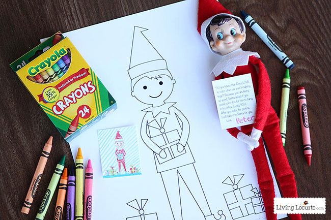 elf on the shelf pictures to color with a big sheet for kids and a small sheet already colored by Elf who is holding a note he wrote.