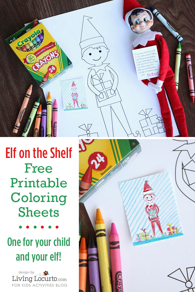 Elf on the shelf free printable coloring sheets-one for your child and one for your elf with one big elf coloring sheet and one small one with crayola crayons.