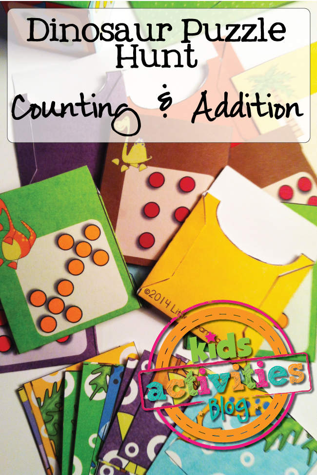 Free Kids Math Printable Dinosaur Puzzle Hunt Game practices counting and addition in a fun new way!