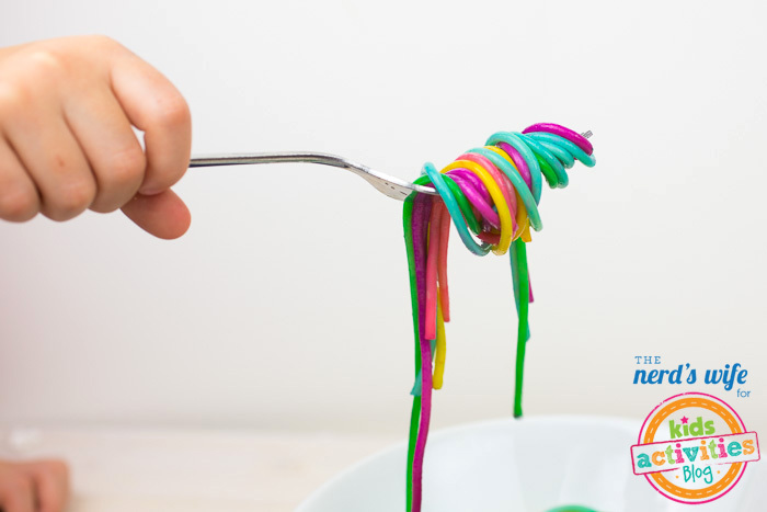 Rainbow Pasta Wrapped Around Fork 2