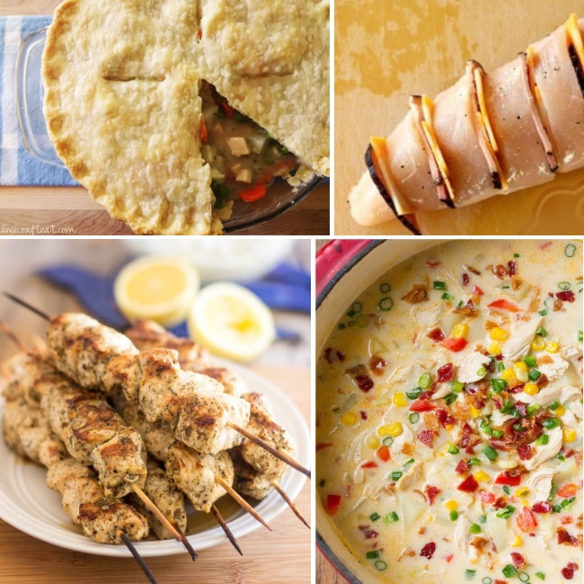 delicious chicken recipes that include cheese stuffed chicken breasts, pot pies, chicken kababs, and chicken soup.