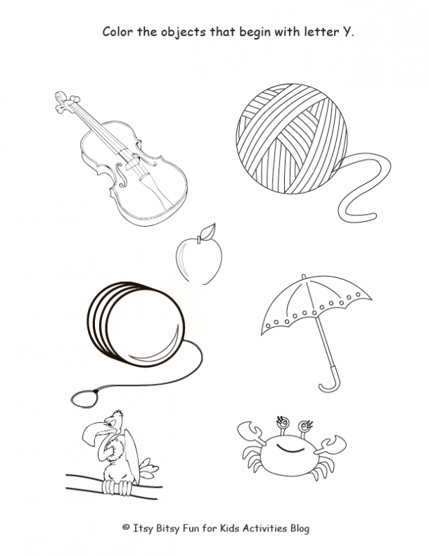 color the objects that begin with letter y